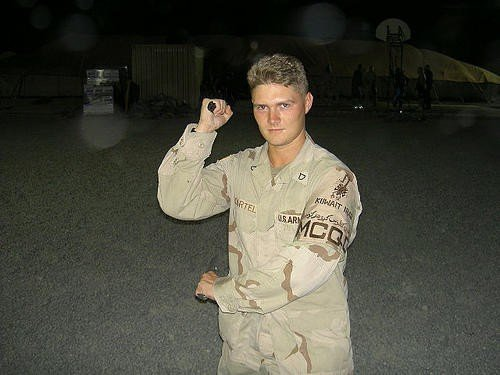 A photo taken at Camp Spearhead, Kuwait in 2004. I was participating in an officially sanctioned advanced military close quarters combatants course.